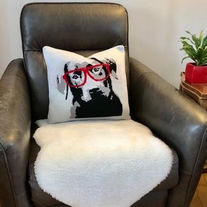 Dog Wearing Red Glasses Cushion Cover